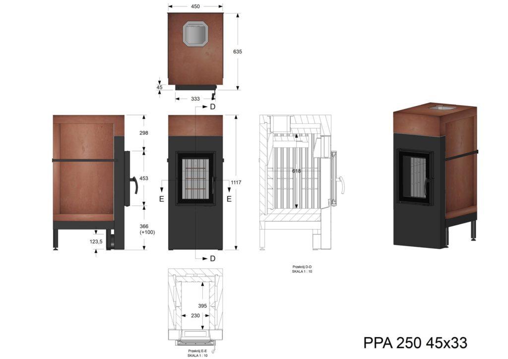 Palenisko akumulacyjne PPA 250 45x33