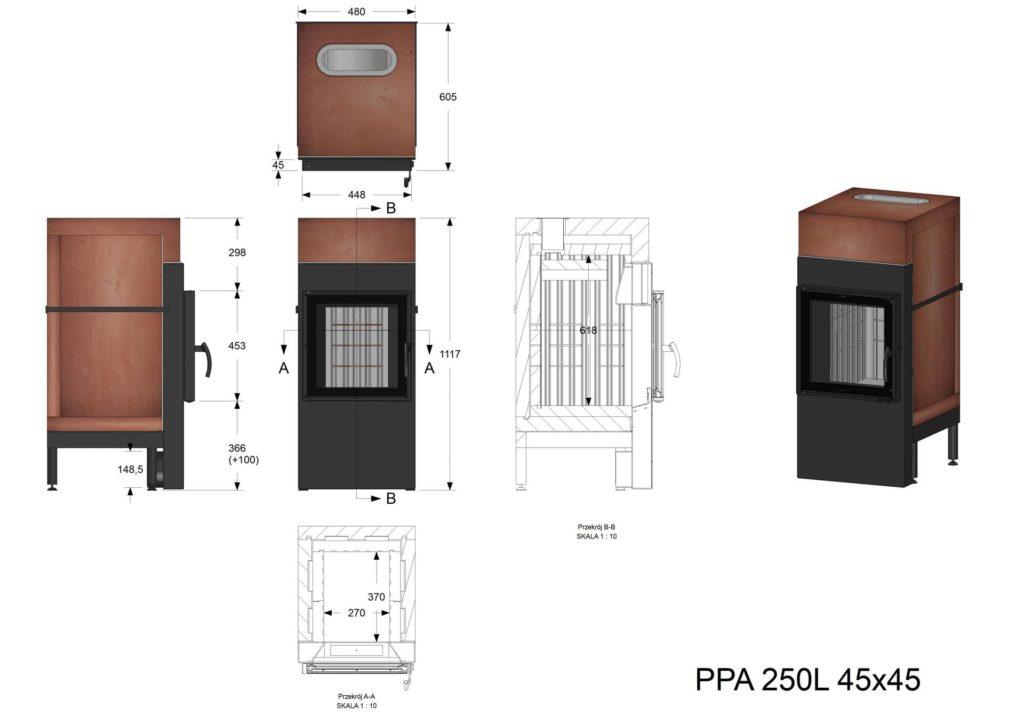 Palenisko akumulacyjne PPA 250 L 45x45