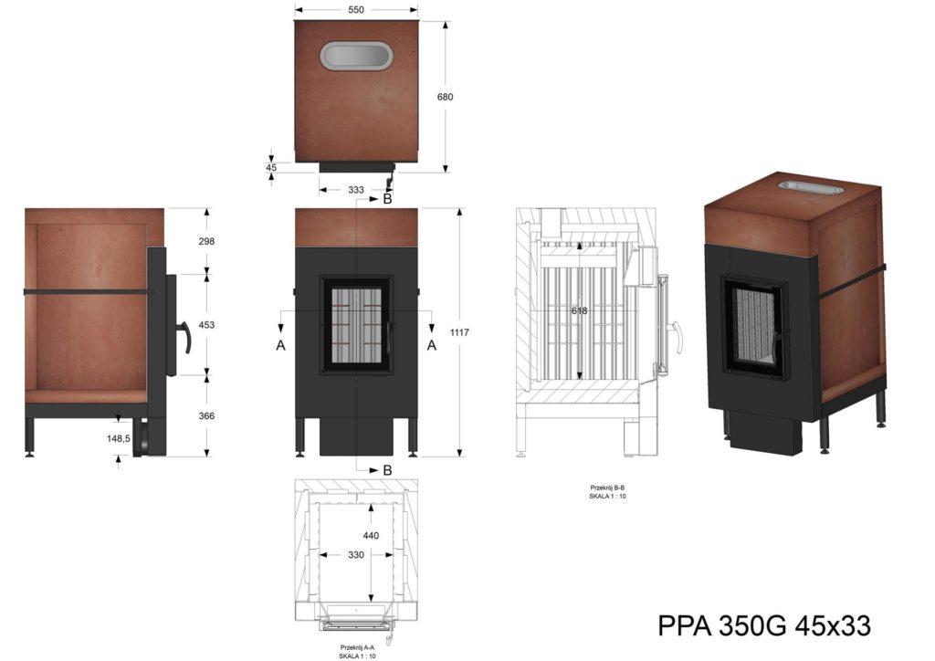 Palenisko akumulacyjne PPA 350 G 45x33