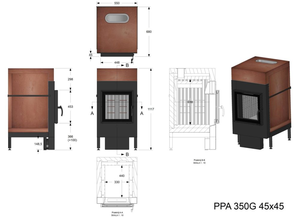 Palenisko akumulacyjne PPA 350 G 45x45