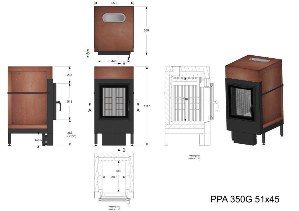 Palenisko akumulacyjne PPA 350 G 51x45