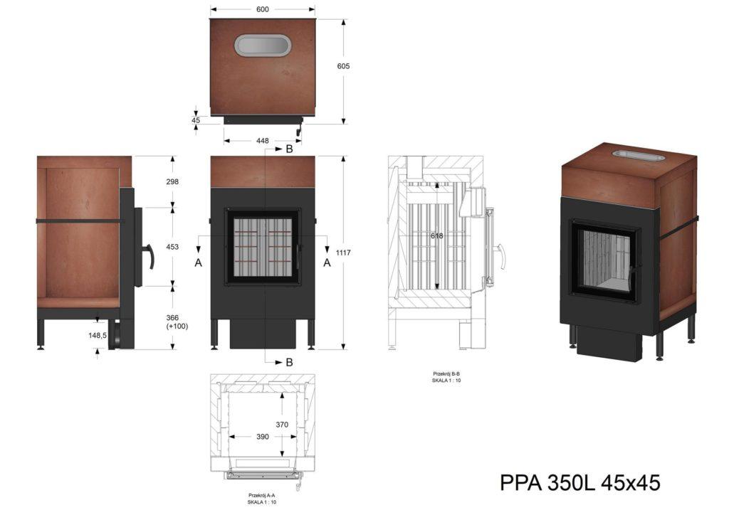 Palenisko Akumulacyjne PPA 350 L 45x45