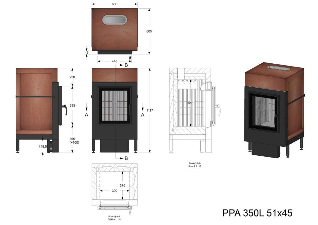 Palenisko akumulacyjne PPA 350 L 51x45