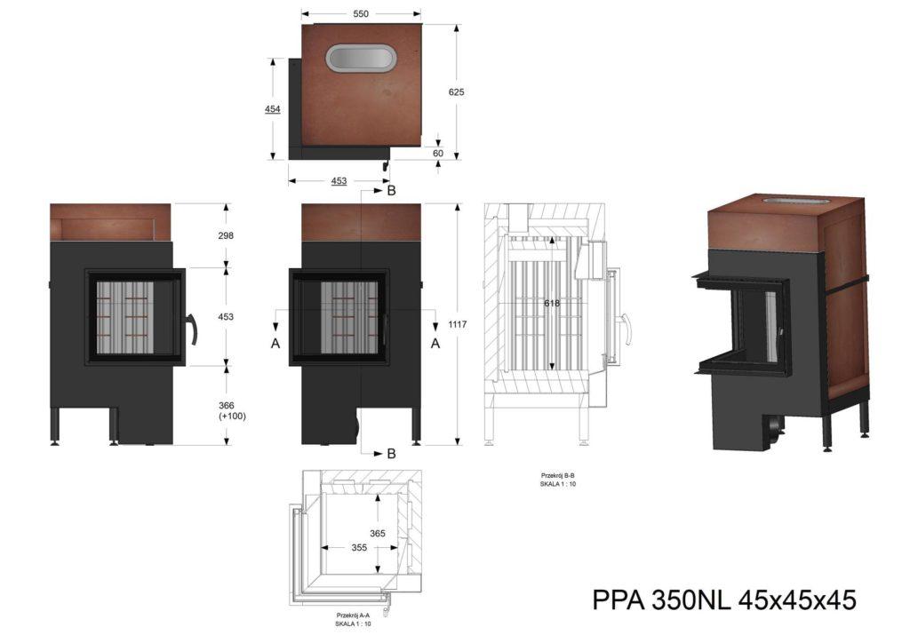 Palenisko akumulacyjne PPA 350 NL 45x45x45