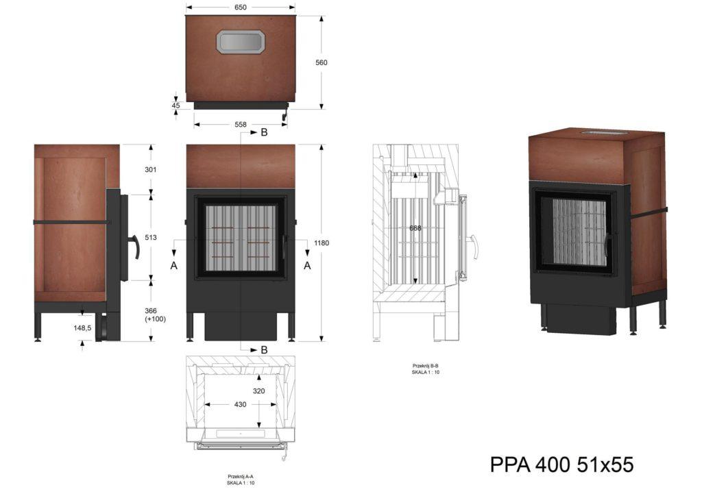 Palenisko akumulacyjne PPA 400 51x55