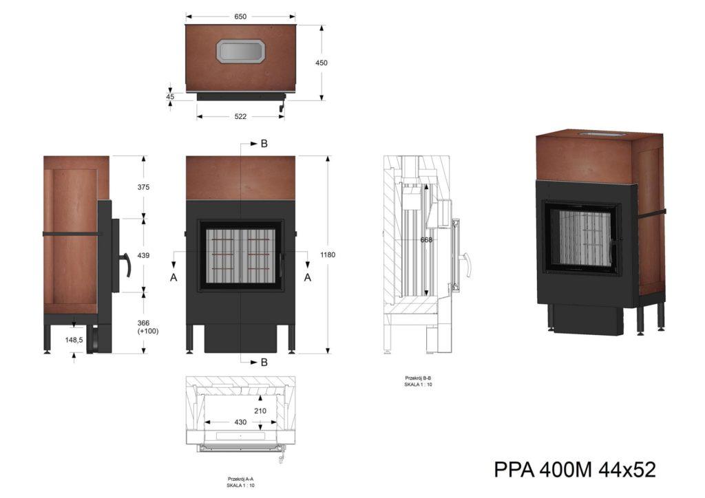 Palenisko akumulacyjne PPA 400 M 44x52