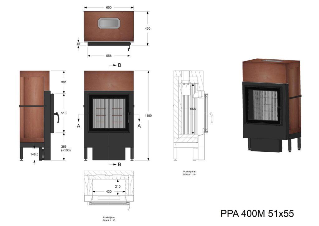 Palenisko akumulacyjne PPA 400 M 51x55