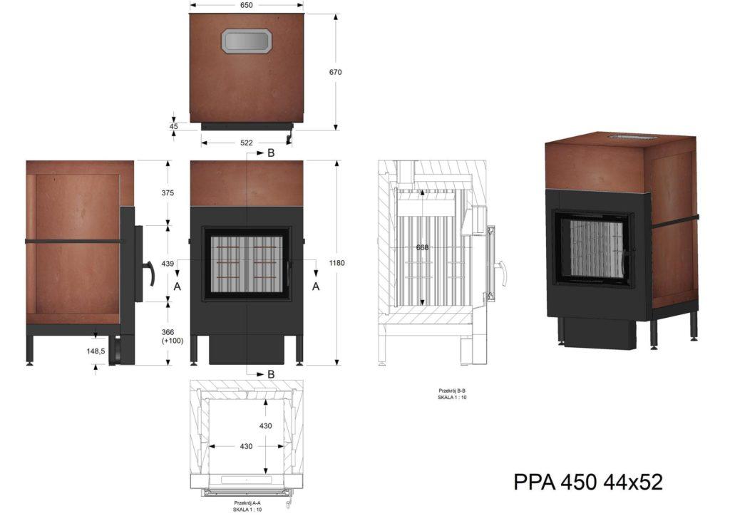 Palenisko akumulacyjne PPA 450 44x52