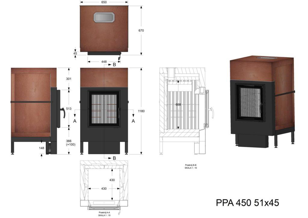Palenisko akumulacyjne PPA 450 51x45