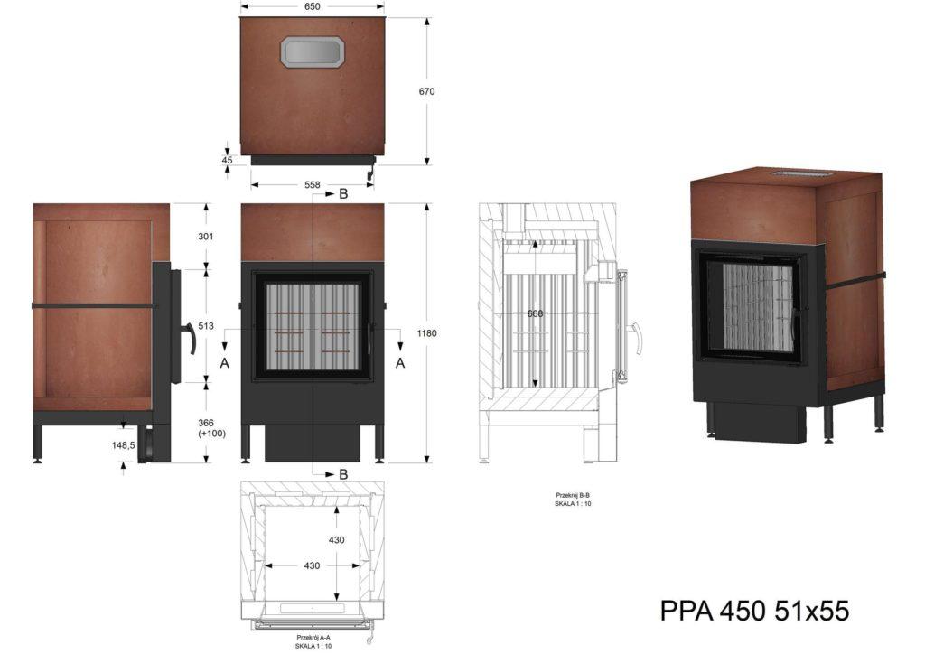 Palenisko akumulacyjne PPA 450 51x55