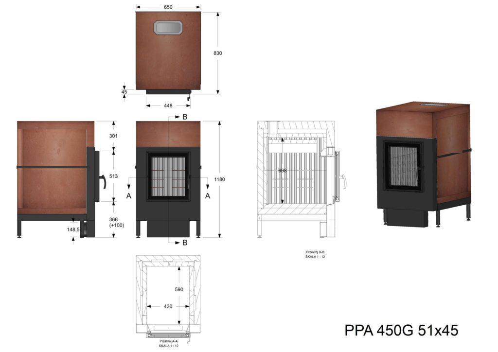 Palenisko akumulacyjne PPA 450 G 51x45