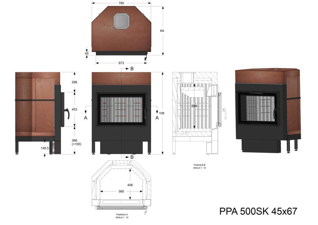 Palenisko akumulacyjne PPA 500 45x67