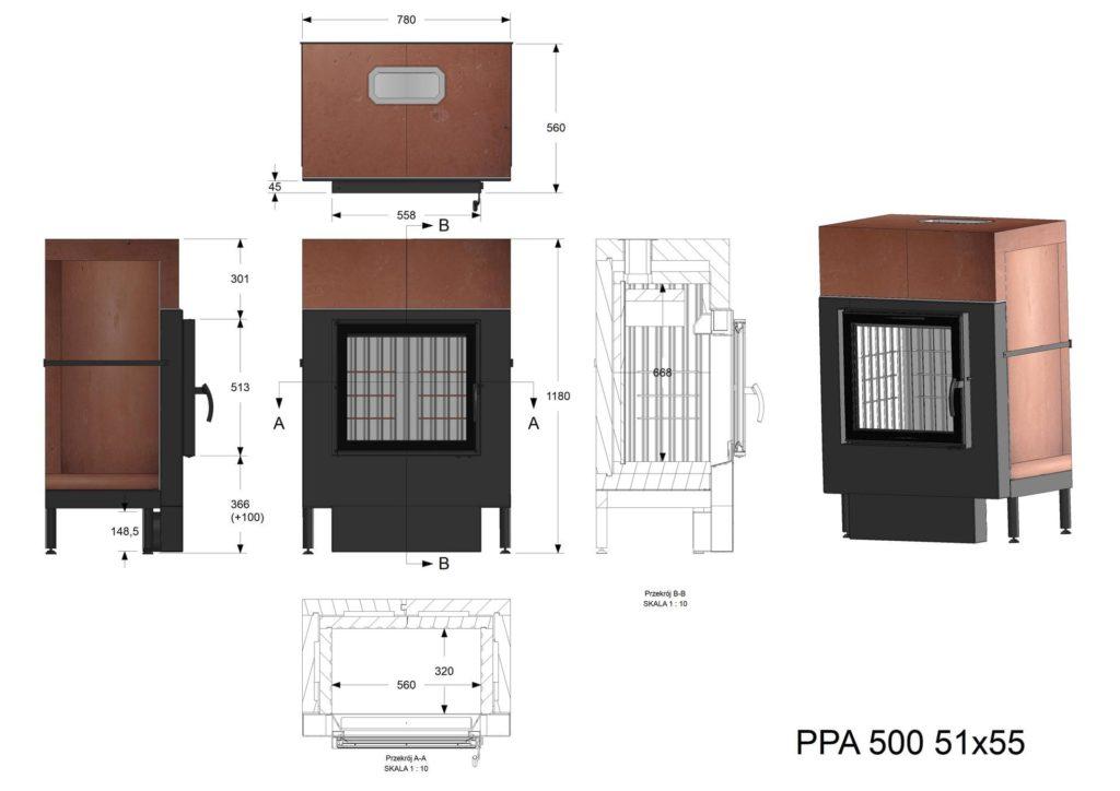 Palenisko akumulacyjne PPA 500 51x55