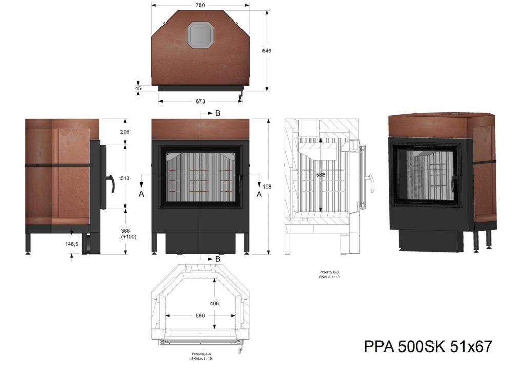 Palenisko  akumulacyjne PPA 500 SK 51x67