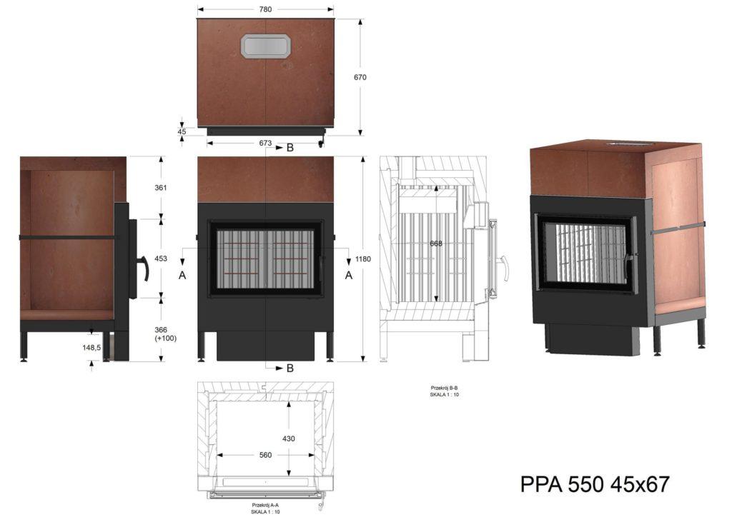 Palenisko akumulacyjne PPA 550 45x67
