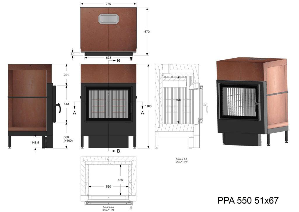 Palenisko akumulacyjne PPA 550 51x67