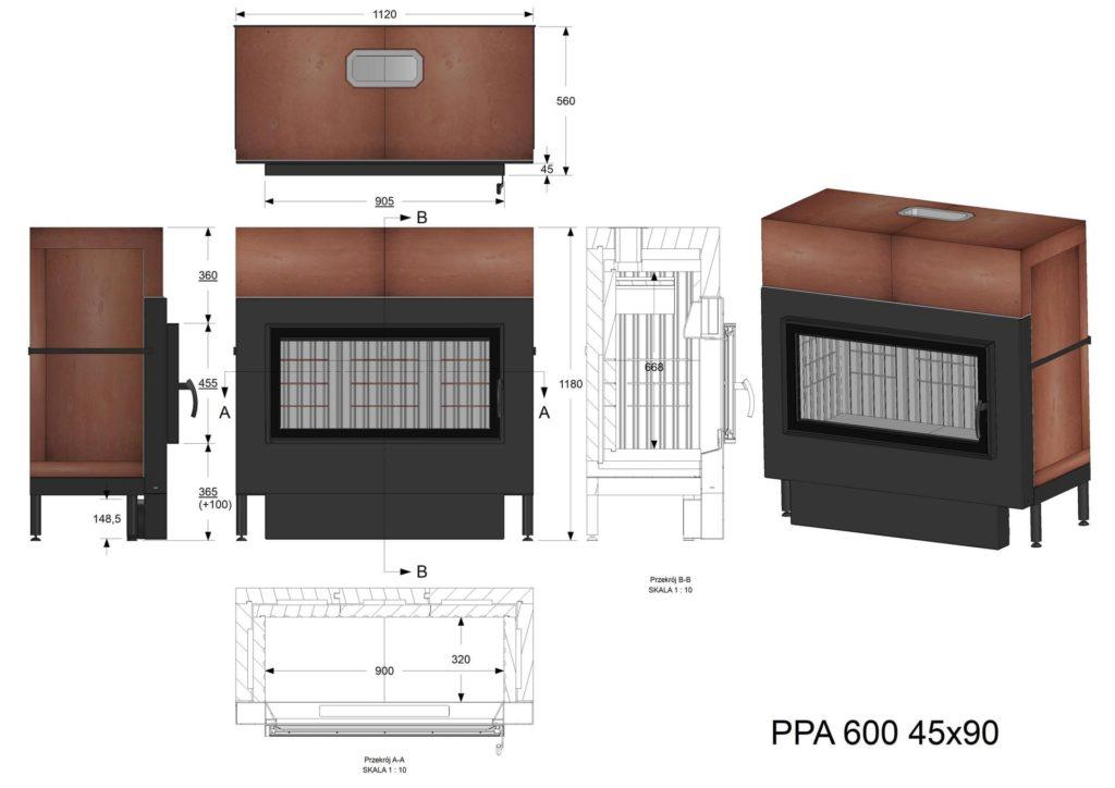 Palenisko akumulacyjne PPA 600 45x90