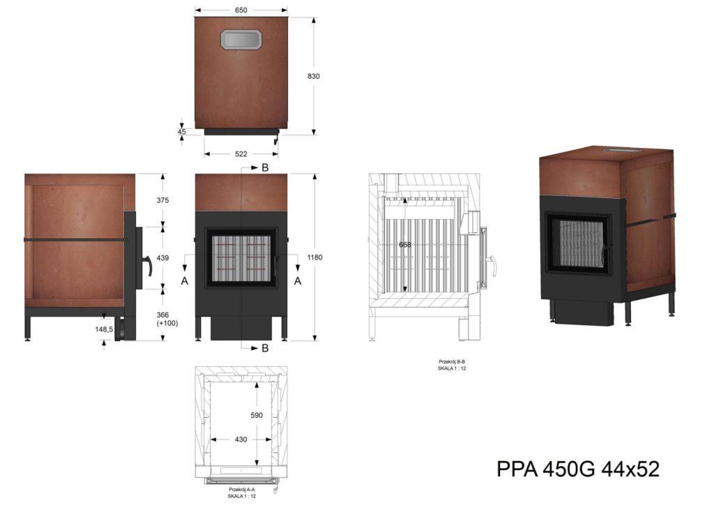 Palenisko kumulacyjne PPA 450 G 44x52